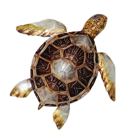Sea Turtle Small Wall Decor Brown Checkered Shell