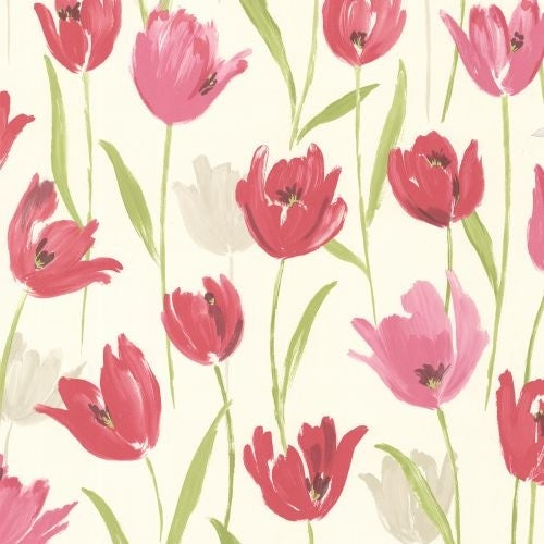 Brewster 347-20116 Finch Pink Hand Painted Tulips Wallpaper