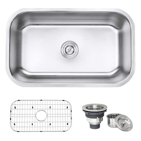 Ruvati 30-inch Undermount 16 Gauge Stainless Steel Kitchen Sink Single Bowl - RVM4250 - 27-3/4? x 16? - 27-3/4 x 16