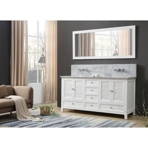 Shutter Premium 72 In. Vanity In White With Carrara White Marble