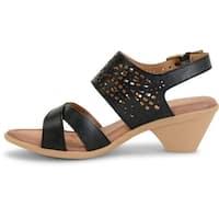 Comfortiva Womens FAITH Leather Open Toe Casual Slingback Sandals