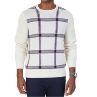 Nautica Beige Men's Size Large L Plaid Knit Crewneck Sweater