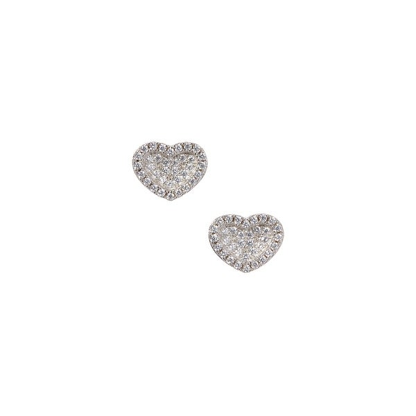 925 Sterling Silver Concave Heart Stud Earrings with Cubic Zirconia