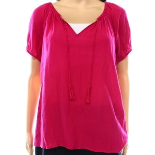 Joie NEW Pink Women's Size Small S Keyhole Solid Gathered Blouse