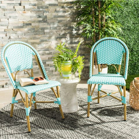 """SAFAVIEH Salcha Indoor-Outdoor French Bistro Teal/ White Stacking Side Chair (Set of 2) - 18""""x21.6""""x34.6"""""""