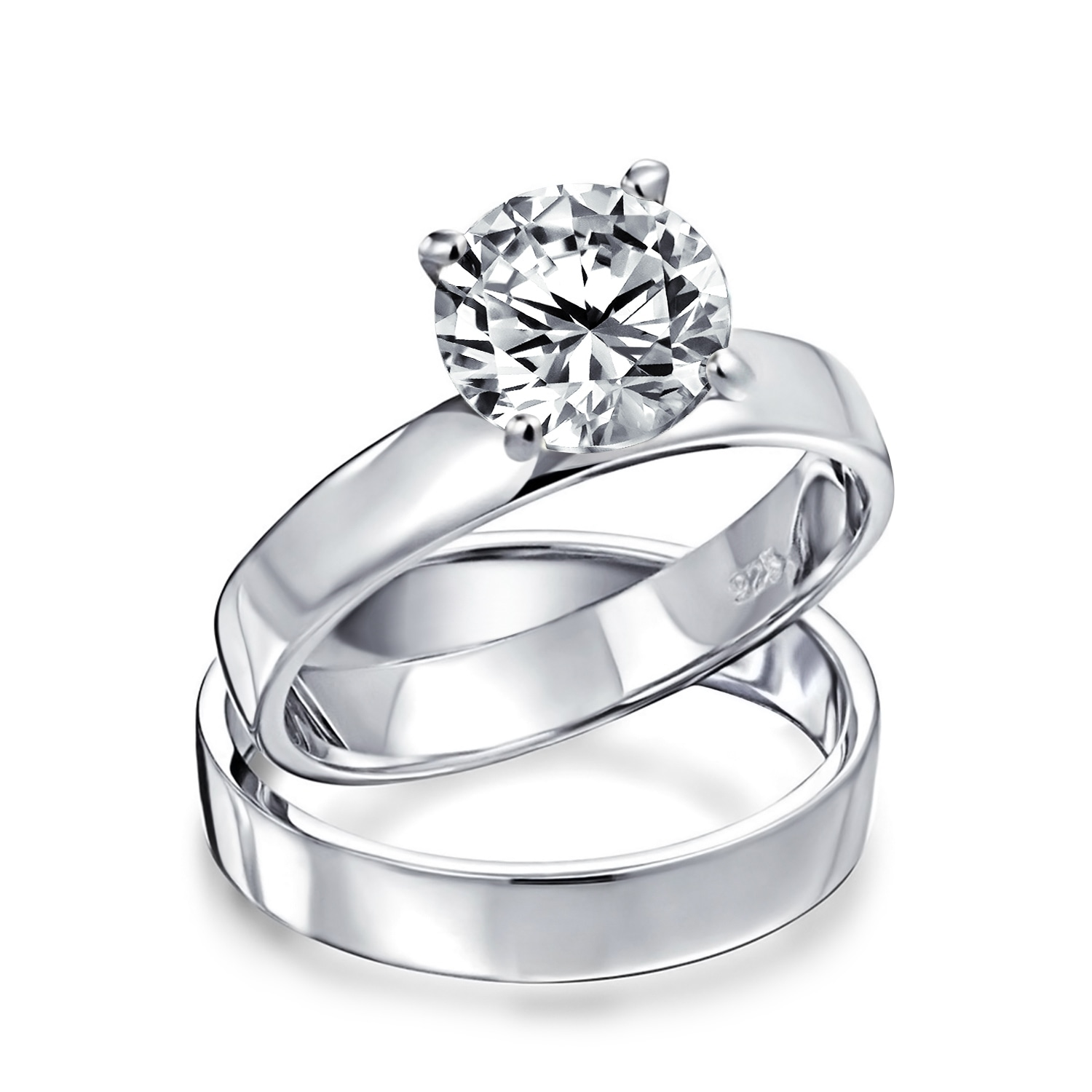 Shop 2ct Solitaire Band Aaa Cz Engagement Wedding Ring Set Sterling Silver Overstock 18112167 6