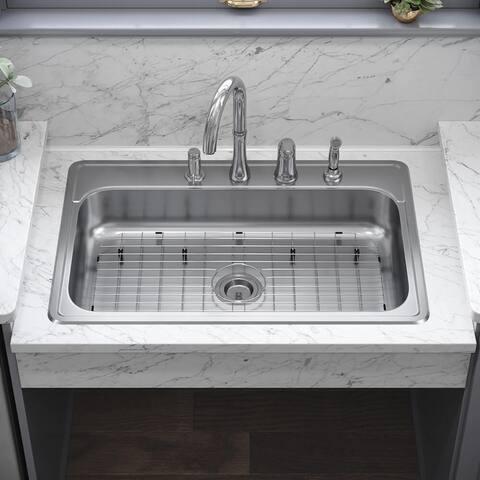 ADAT550S 18 Gauge Single Bowl Stainless Steel Kitchen Sink, Ensemble