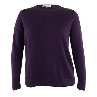 Eight Eight Eight Women's Faux Leather Inset Sweater - Aubergine - l
