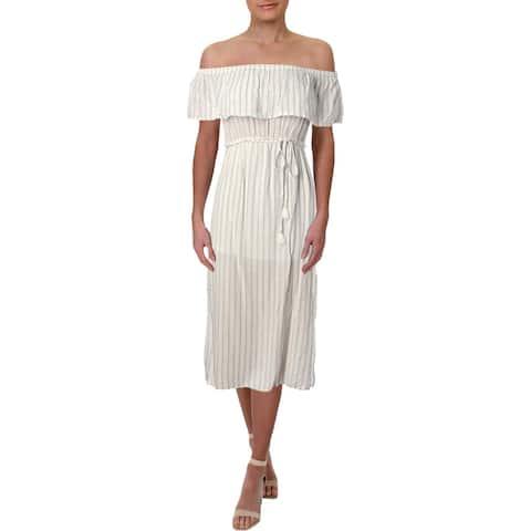 Aqua Womens Sundress Striped Off-The-Shoulder