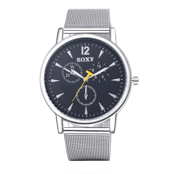 Silver Tone New York Inspired Classic Watch- Black