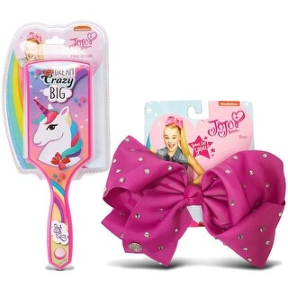 Jojo Siwa Berry Signature Bow with Rhinestones and Pink Paddle Hair Brush with Unicorn (2 Items)