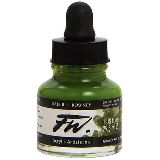 Daler-Rowney - FW Acrylic Artists Ink - 1 oz. Dropper-Top Bottle - Olive Green