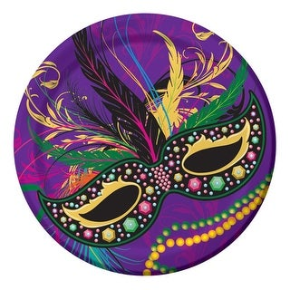 """Club Pack of 96 Purple and Yellow Disposable Mardi Gras Masks Dinner Plates 8.8"""""""