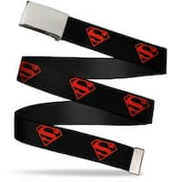 Blank Chrome Buckle Superboy Shield Black Red Webbing Web Belt