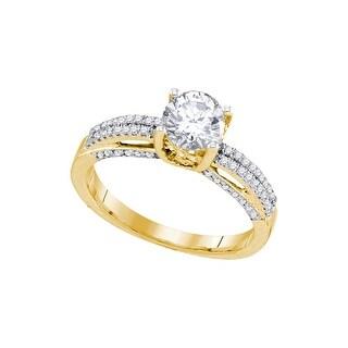 10k Yellow Gold Natural Round Diamond Solitaire Bridal Wedding Engagement Anniversary Ring 1 & 1/5 - White