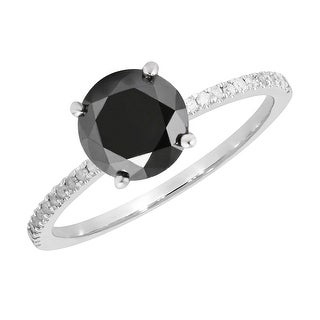 Prism Jewel 2.18 Carat Round Black Color Diamond with Diamond Solitaire Ring - White G-H