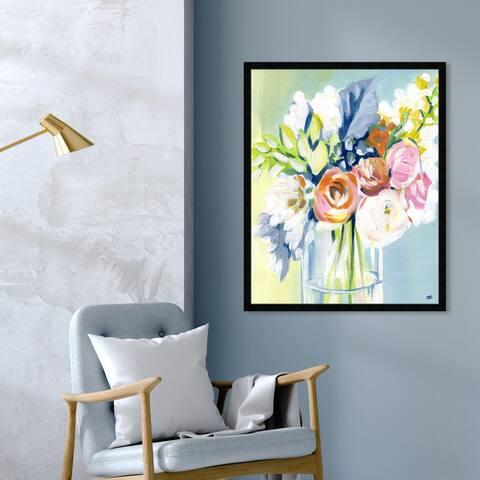 Oliver Gal 'Wednesday Favorites' Floral and Botanical Wall Art Framed Print Florals - Blue, Green