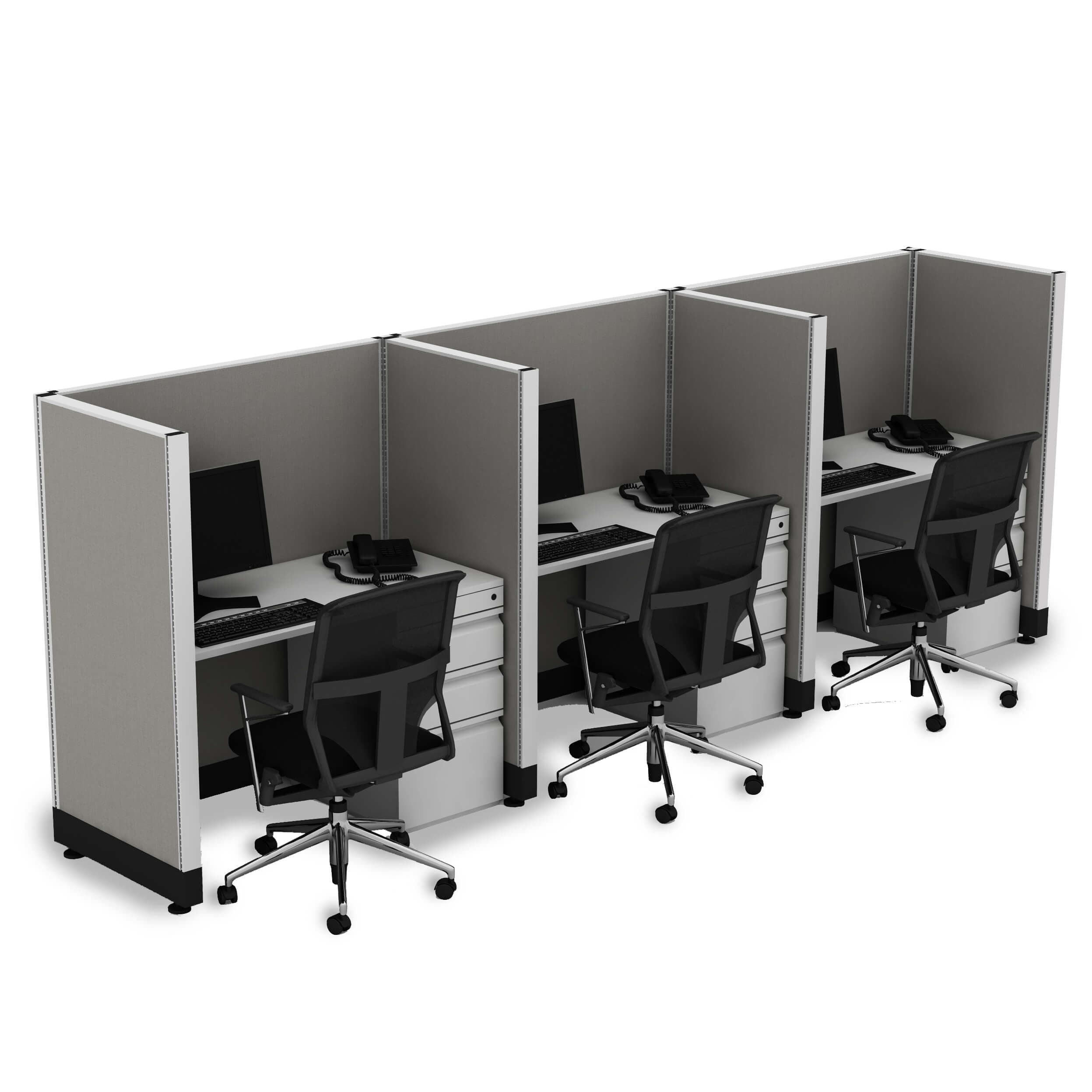 Office Cubicle Desk 53H 3pack Inline Unpowered (2x3 - White Desk White Paint - Assembled)