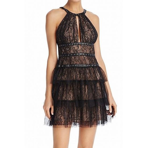 4926e90b48a Shop BCBG Max Azria Women s Tiered Tulle Halter Sheath Dress - On ...