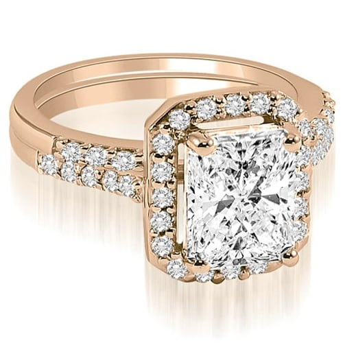 1.06 cttw. 14K Rose Gold Emerald And Round Cut Halo Diamond Bridal Set,HI,SI1-2