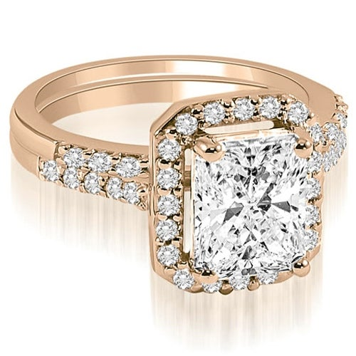 1.56 cttw. 14K Rose Gold Emerald And Round Cut Halo Diamond Bridal Set