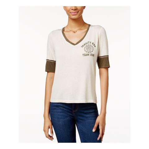 REBELLIOUS ONE Womens Ivory Varsity Nap Team 1986 Short Sleeve V Neck Top Size: S