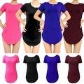 Womens Side Slit Short Sleeve Long Tunic Tops - Thumbnail 21