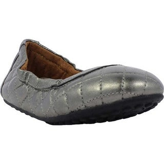 Umi Girls' Clea Big Girl Flat Pewter Leather