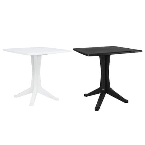 "vidaXL Garden Table 27.6"" Plastic Outdoor Square Bistro Table - 27.5""x27.5""x28.2"""