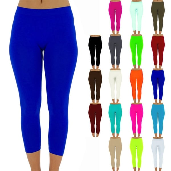 b48fdb867 Shop Womens capri leggings seamless skinny slim fit cropped solid yoga pants  one size - Free Shipping On Orders Over  45 - Overstock - 23168513