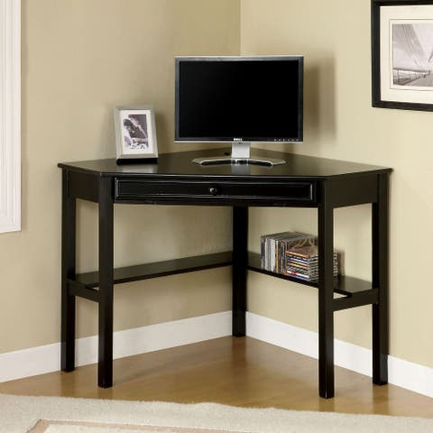 Furniture of America Munn Transitional Black 32-inch 2-shelf Corner Desk