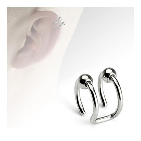 Surgical Steel Fake Cartilage 'Clip-On' Double Closure Ring with Beads (Sold Ind.)