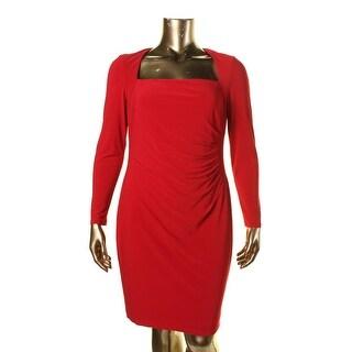 Lauren Ralph Lauren Womens Tryona Matte Jersey Gathered Wear to Work Dress