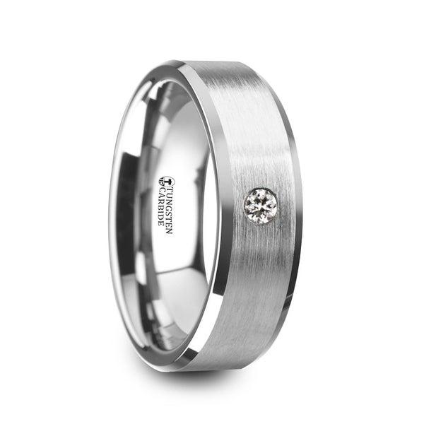 Porter Brushed Finish Tungsten Carbide Wedding Ring With White Diamond Setting And Beveled Edges