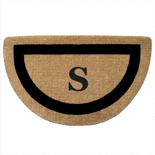 Nedia Home 02053S Single Picture - Black Frame 22 x 36 In. Half Round Heavy Duty Coir Doormat - Monogrammed S