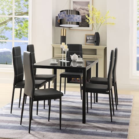 7 Pieces Kitchen Dining Set, Glass Table Top with 6 Leather Chairs