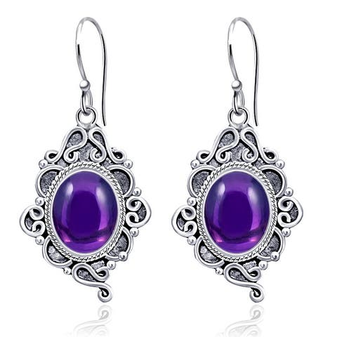 Amethyst,Chalcedony,Lapis Lazuli,Rutile Quartz Sterling Silver Oval Dangle Earrings By Orchid Jewelry