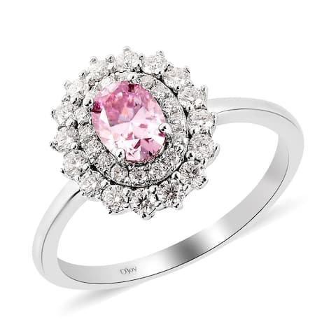 Shop LC 925 Sterling Silver Rhodium Over Moissanite Halo Ring Ct 1.5