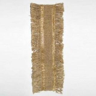 "Burlap with Gold Lurex Border Fringed Christmas Ribbon 2.5"" x 10 yards"