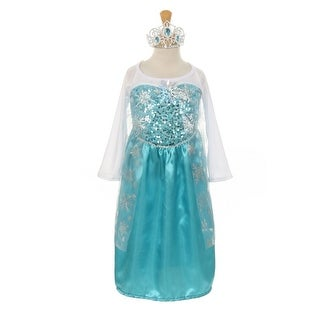 Cinderella Couture Little Girls Blue White Snowflake Dress Bejeweled Crown 1-6