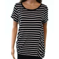 Cable & Gauge Black White Womens Size Large L Striped Knit Top