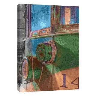 """PTM Images 9-105376  PTM Canvas Collection 10"""" x 8"""" - """"Trolley 14, Posterized"""" Giclee Transportation Art Print on Canvas"""