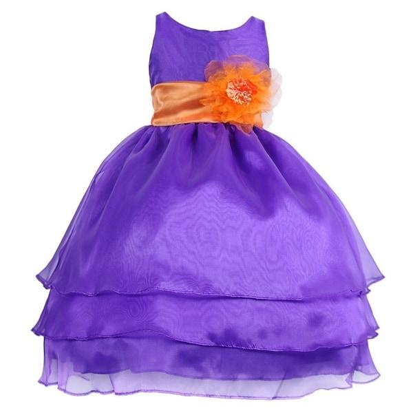 4879e239321 Shop Little Girls Purple Orange Floral Sash Flower Girl Dress 2T-6 - Free  Shipping Today - Overstock - 18169588