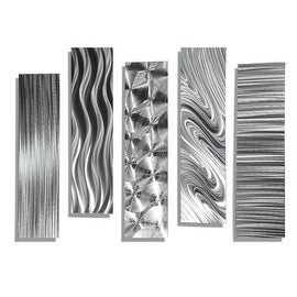Statements2000 Set of 5 Silver Metal Wall Art Accents by Jon Allen - 5 Easy Pieces