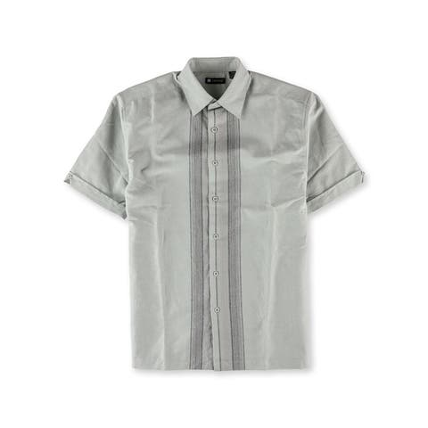 Centro Mens Patterned Button Up Shirt, Grey, Small