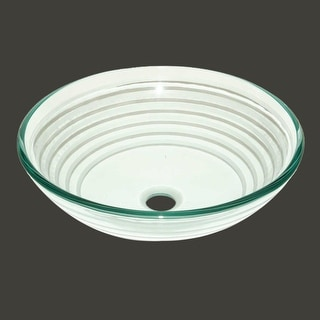 Tempered Glass Vessel Sink with Drain Textured Circle Design Bowl Sink