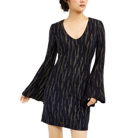 City Studio Women's Dress Blue Black Size XL Sheath Striped Glitter