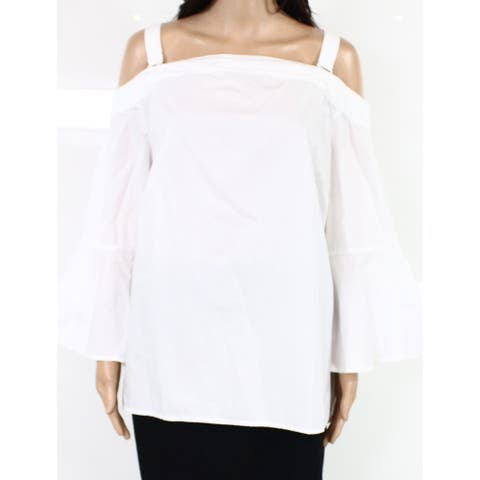 Jessica Simpson Womens Blouse White 1X Plus Cold-Shoulder Bell-Sleeve