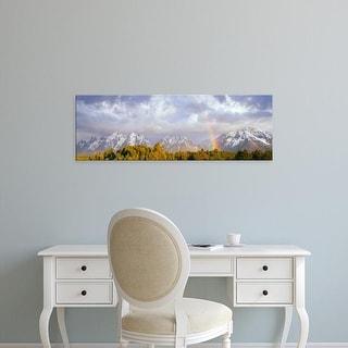 Easy Art Prints Panoramic Image 'Rainbow over the Teton Range, Grand Teton National Park, Wyoming' Canvas Art