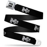 H2 Black Silver Logo Repeat Seatbelt Belt Fashion Belt